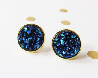 ea7cf7968 Navy and Gold Druzy Stud Earring, Bridesmaid Earrings, Stud Earrings, Druzy  Earrings, Nickle Free, Gold Earrings, Gift for Her, Navy