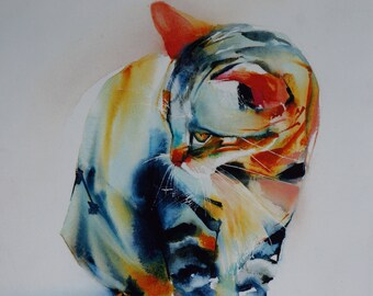 "Postcard. Greeting card. Cat watercolor print multicolored tabby cat ""Gaston"""
