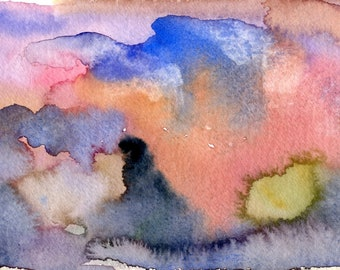 Floating in a Land of Dreams - Original Watercolor on paper