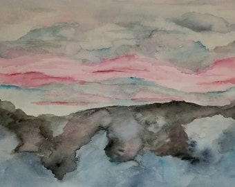 Dusk crept over the sky from the eastern horizon - Original Watercolor on paper