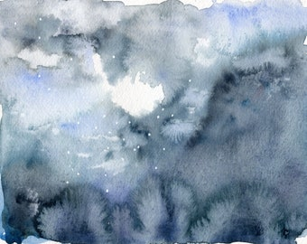 A cold and damp winter's dusk - Original Watercolor on paper