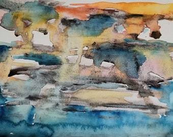 Sunset over Cerulean Blue Waters - Original Watercolor on paper