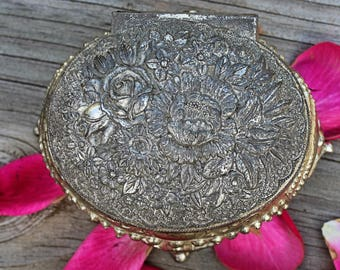 Floral Silver Trinket, Jewelry Box, Japan