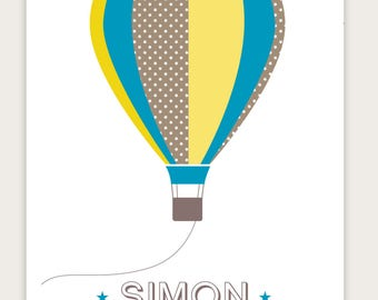 -Birth announcements boy hot air balloon vintage personalize