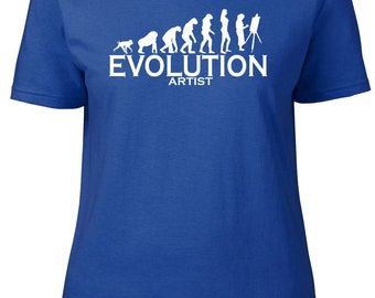 Evolution to Artist. Ladies semi-fitted t-shirt.