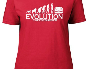 Evolution to Cheeseburger. Ladies semi-fitted t-shirt.