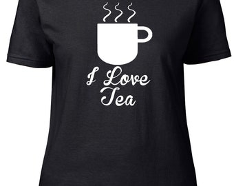 I Love Tea. Cuddly Ladies semi-fitted t-shirt.