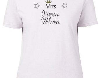 Mrs Owen Wilson. Ladies semi-fitted t-shirt.