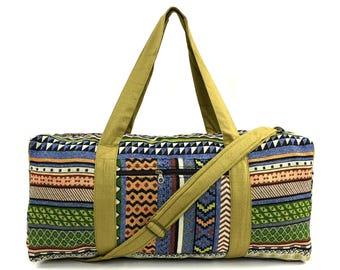 Green Aztec Weekender bag - Native inspired, Hippie Overnight bag, Handmade Travel bag, Holdall, Cute Carry on bag, Boho Duffle bag, Vegan