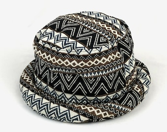 f5b20cc1cda1a6 Men's Bucket hat - Native inspired, Folk Tapestry Rollbrim hat, Boho Hippie  Hat, festival hat, Aztec bucket hat - Vegan, Large 22 5/8 inche