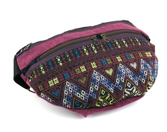 Vegan Belt Bag Unisex Fanny Pack Large Bum bag Hippie Waist Purse Ethnic tribal bag bauchtasche Folk Utility belt Festival Hip bag