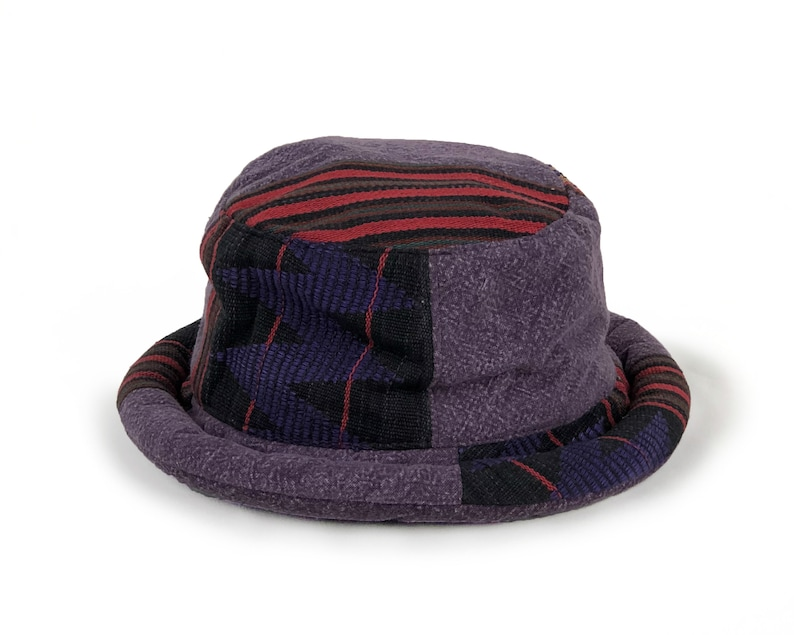 Patchwork Bucket Hat Vintage Tribal Fabric in Purple Soft  d00a72c6291