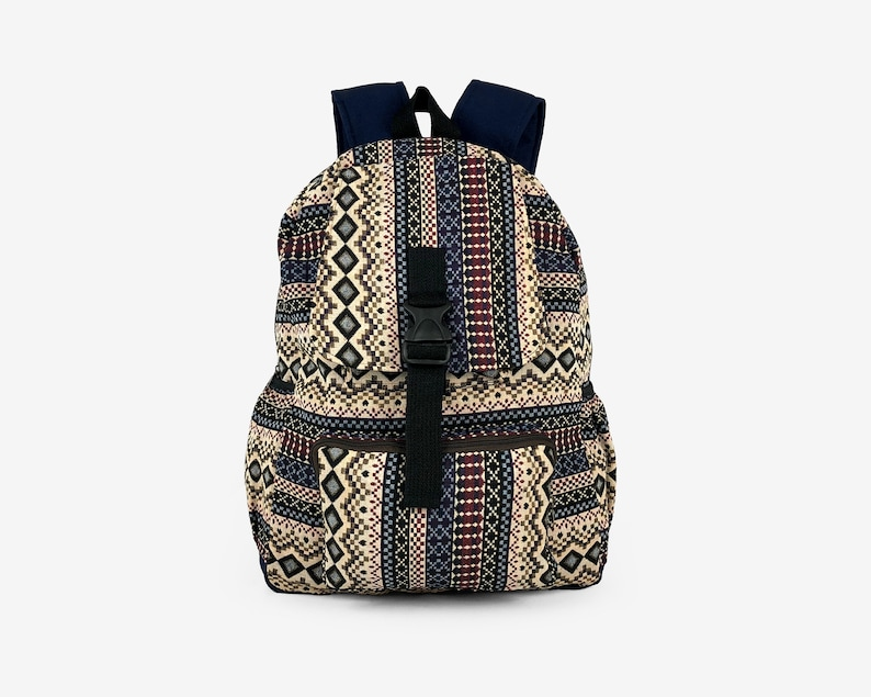 Native Aztec Canvas Backpack Teen Rucksack Tribal backpack Vegan Ikat folk Hippie style Cute School Backpack Hipster Boho backpack