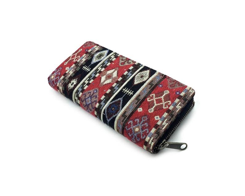 80539c2c5c2c Red Aztec Tapestry Wallet, Handmade Womens Zippered Long Wallet, Beautiful  Cotton Phone wallet, travel wallet, YKK Metal zipper, Gift Ideas