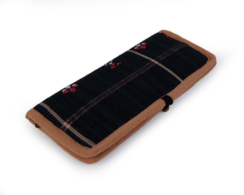 Vegan wallet Boho Bohemian Wallet Gift for him Ethnic Tribal Long bifold Wallet Hippie Wallet Vintage Hand woven Naga textile Wallet