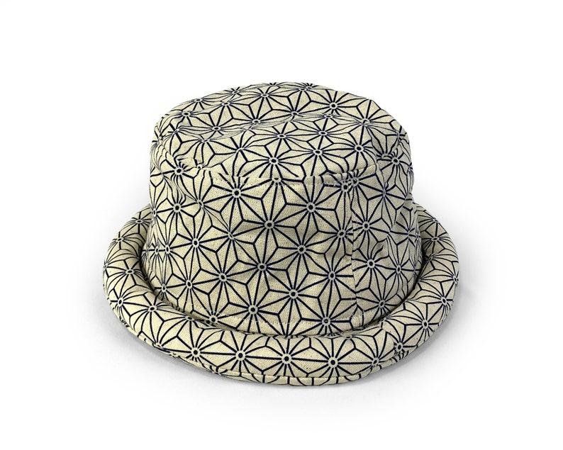 Hippie Bucket hat Asanoha Japanese fabric Unisex hat Handmade Cotton Hat Hipster Festival hat