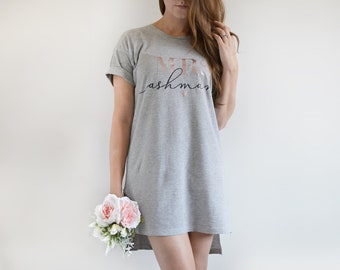 ae958f3767 Personalised Oversized Rose gold MRS nightgown