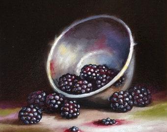 Original still life Oil Painting, Bowl with Blackberries framed art  by Jane Palmer art realism