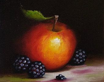 Original still life  Oil Painting, Blackberry and Apple by Jane Palmer Art Framed contemporary Realism artwork