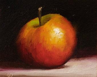 Little Apple Original still life  Oil Painting, by Jane Palmer Art Framed contemporary Realism artwork