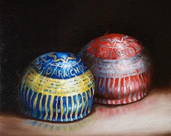 Tunnocks Teacakes original Still life oil painting, framed contemporary realism art by jane palmer