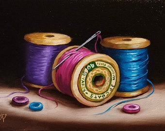 Original still life Oil Painting, cotton reels and buttons Jane Palmer Art Framed contemporary Realism artwork needle and thread sewing art