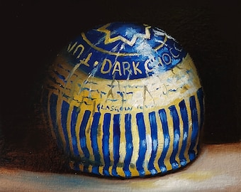 Tunnocks teacake dark chocolate , Original still life Oil Painting by Jane Palmer Art Framed realism Scotland food Scottish art