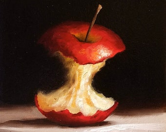 Red Apple core Original Oil Painting still life by Jane Palmer Art contemporary realism framed artwork