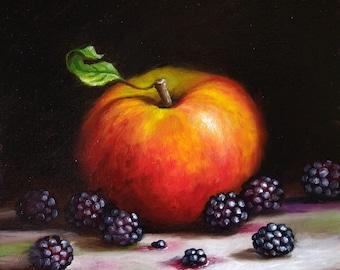 Original still life Oil Painting, Apple with Blackberries framed art  by Jane Palmer art realism