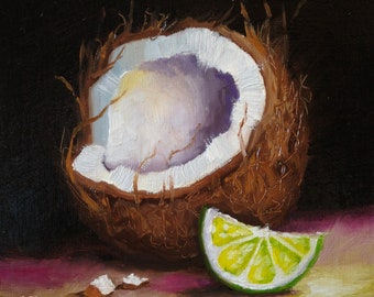 Original still life Oil Painting, Lime with coconut #2 by Jane Palmer Art Framed contemporary Realism artwork needle and thread sewing art