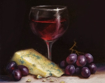 Original still life Oil Painting, Red wine with stilton and grapes framed traditional art  by Jane Palmer art realism