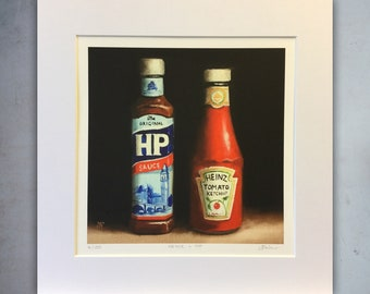 Heinz and HP Limited Edition Giclee Print, still life from Original painting, ketchup, kitchen, gift, home decor, Jane Palmer