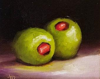 Little Olives Original still life  Oil Painting, by Jane Palmer Art Framed contemporary Realism artwork