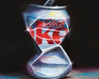 Diet Coke Crush #3 original Still life oil painting, framed contemporary realism Coca Cola art by jane palmer