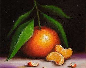 Original still life Oil Painting, Clementine Orange with segments framed art  by Jane Palmer art realism