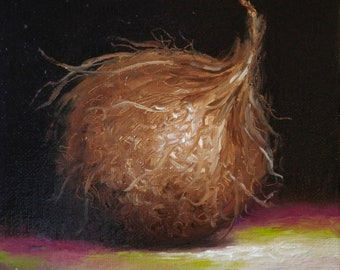 Original still life Oil Painting, Coconut by Jane Palmer Art Framed contemporary Realism artwork needle and thread sewing art
