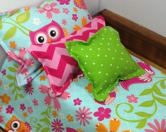 Doll Bedding, owl print, 18 inch dolls, green and pink, light blue, pink chevron, pink polka dot, 4 piece set, comforter and 3 pillows