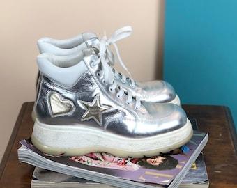 29e6d1d9e313 90s Gusella Platform Chunky Leather Sneakers - 38 EU