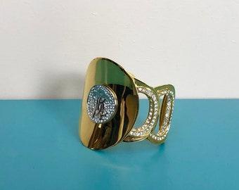 e054f8a3f4 SALE -30% ROBERTO CAVALLI - Vintage Roberto Cavalli Golden Brassand  Rhinestone Big Bracelet