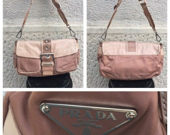 3ac3ceb3e770 RESERVED for Lisa - SALE - 30% - PRADA - 90s Prada Bag - Vintage Prada  Baguette Bag - Powder Pink Prada Bag