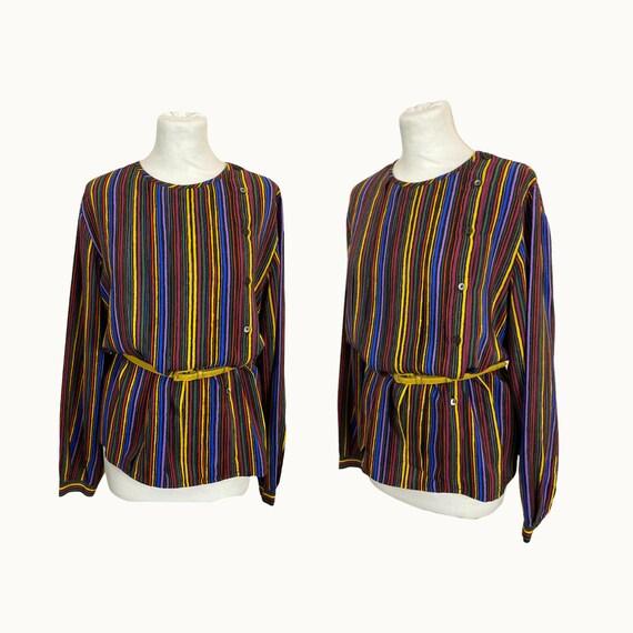 Size M | GUCCI - 70s Striped Silk Blouse - image 1
