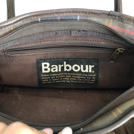 BARBOUR - Vintage Barbour Checkered Canvas and Le… - image 7