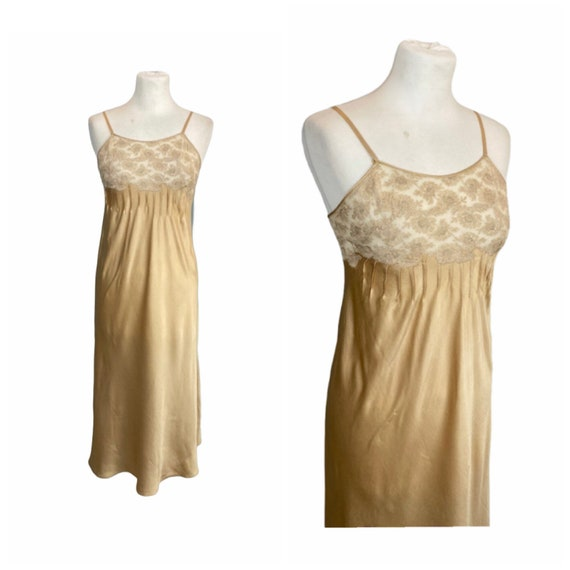 60s Lace And Silk Satin Slip - XS