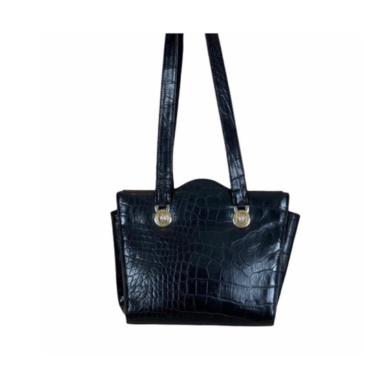 VERSACE - 90s Gianni Versace Black Leather Bag - image 1