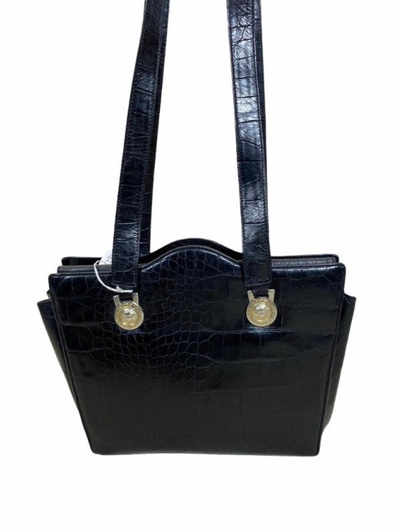 VERSACE - 90s Gianni Versace Black Leather Bag - image 8