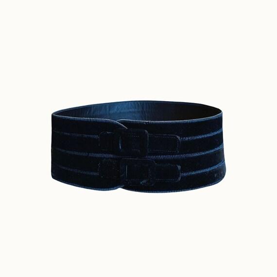 GIORGIO ARMANI - 90s Black Velvet and Leather Wide