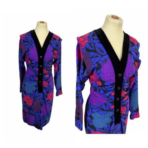 ROCCOBAROCCO - 80s Silk Shirred Dress - Size S