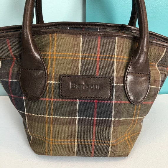 BARBOUR - Vintage Barbour Checkered Canvas and Le… - image 2