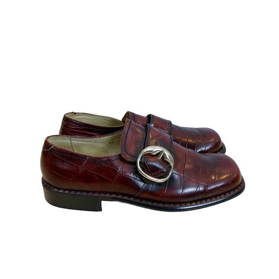 60/70s Burgundy Leather Moccasins - 40 EU