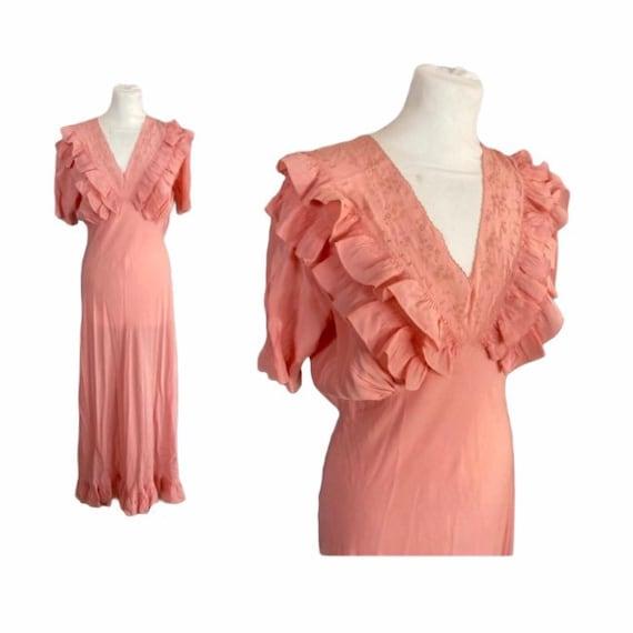 30/40s Silk Long Nightgown - M/L